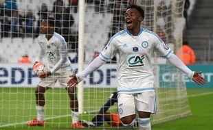 Georges-Kevin Nkoudou a incrit le premier but marseillais, bien aidé par Bensebaini, à Marseille le 20 janvier 2016