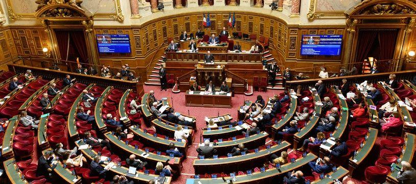 L'hémicycle du Sénat, lors du discours du Premier ministre Jean Castex le 16 juillet 2020.