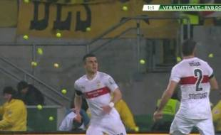 Les supporters de Dortmund ont lancé des balles de tennis sur la pelouse à Stuttgart pour protester contre le prix des places, le 9 février 2016.