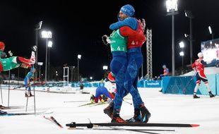 Richard Jouve et Maurice Manificat très heureux d'avoir remporté le bronze sur le relais.