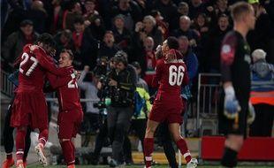 Divock Origi inscrit le 4e but de Liverpool contre le Barça en demi-finale retour de Ligue des champions, le 7 mai 2019.