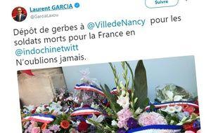 Capture d'écran d'un tweet du député Laurent Garcia posté le 10 juin 2018.