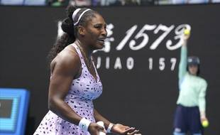 Serena Williams lors de son match contre Wang Qiang à l'Open d'Australie, le 24 janvier 2020.