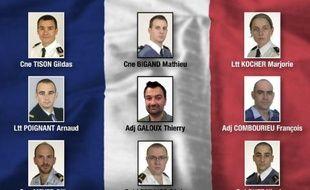 Photos des soldats morts sur la base aérienne espagnole publiées le 27 janvier 2015 par le ministère de la Défense français