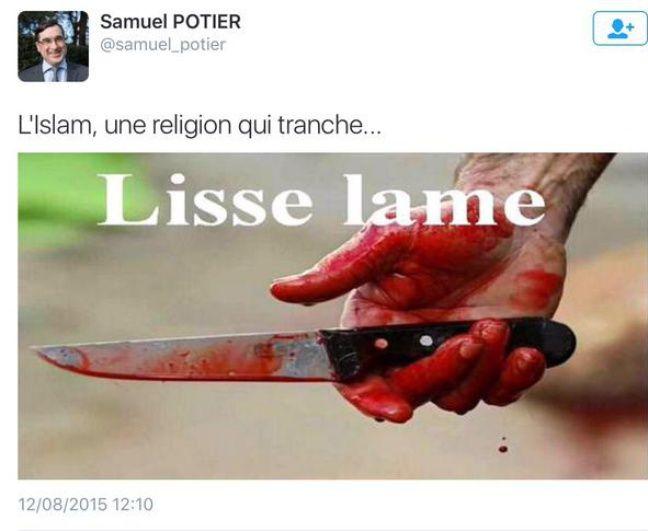 Un autre tweet islamophobe de Samuel Potier.