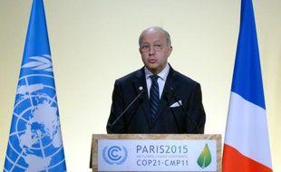 Laurent Fabius lors de l'ouverture de la COP21 le 30 novembre 2015 au Bourget