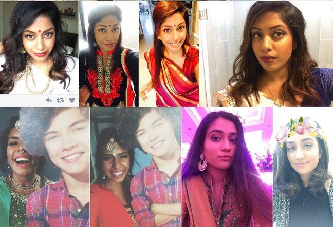 Captures de selfies postés sur Twitter avec le mot-dièse #CurryScentedBitch