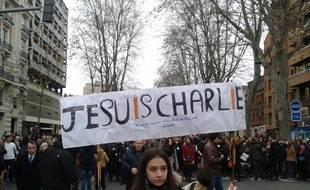 Toulouse, le 10 janvier 2015 - Plus de 120.000 Toulousains ont manifesté le 10 janvier dans les rues de Toulouse après les attentats, dont celui contre Charlie Hebdo, qui ont fait 17 morts