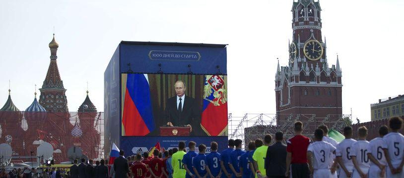 Cérémonie à Moscou à 1.000 jours de l'ouverture de la Coupe du monde 2018 en Russie, le 18 septembre 2015.