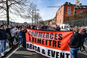 Manifestation des secteurs de l'Horeca (hôtels, restaurants, cafés) contre les fermeture à Namur en Belgique le 25 février 2021.