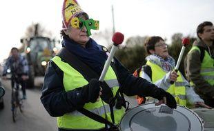 Un eparticipante à la manifestation contre l'aéroport de Notre-Dame-des-Landes, le 5 décembre 2015. / JEAN-SEBASTIEN EVRARD