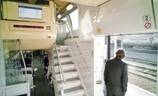 Pendant l'expérimentation de six mois, une seule rame TER sera équipée des écrans d'information embarquée (en haut). Pendant ce temps, la SNCF commenceraà réceptionner 34 voitures de TER 2N, entièrement revues, de la mécanique à la déco.