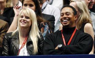 Tiger Woods et sa femme Elin Nordegren , le 11 mars 2008 à New-York.