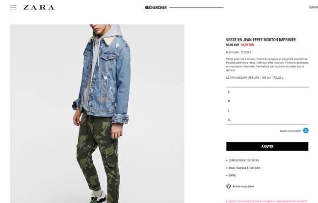 On the French site, the jacket is displayed on sale at 49.99 euros.