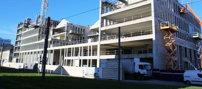 Construction du nouveau siège régional du Crédit Agricole, aux Bassins à Flot à Bordeaux, le 1er novembre 2017