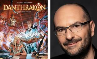 La couverture du 1er tome de « Danthakron » et Christophe Arleston