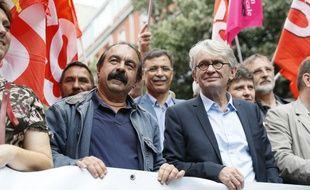 Les leaders syndicaux Philippe Martinez (CGT, à gauche) et Jean-Claude Mailly (FO) seront à Nantes mercredi.