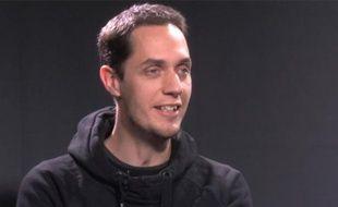 Grand Corps Malade lors d'une interview vidéo dans les locaux de «20 Minutes», le 26 janvier 2012.