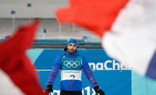 Martin Fourcade a remporté la mass-start des JO de Pyeongchang, le 18 février 2018.