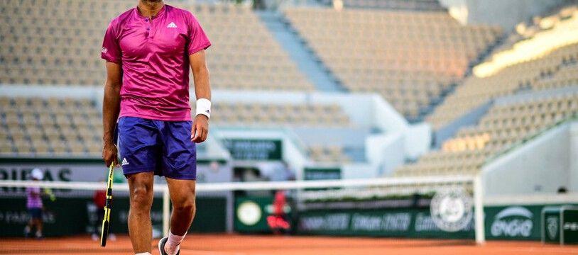 Jo-Wilfried Tsonga sur le Suzanne-Lenglen, le 1er juin 2021.