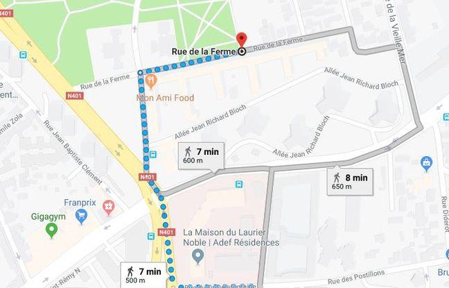 Il faut 7 minutes pour atteindre la rue de la Ferme en partant de l'hôpital Saint-Denis.