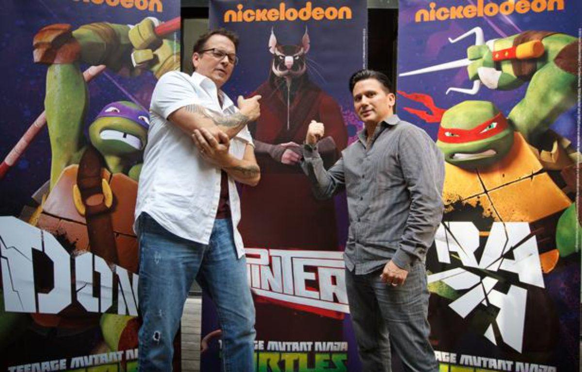 Kevin Eastman, cocréateur des Tortues Ninja, et Rich Magallanes, responsable de l'animation chez Nickelodeon. – A. GELEBART / 20 MiNUTES