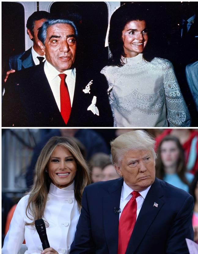 En haut, Aristote Onassis et son épouse Jacqueline Kennedy-Onassis le 20 octobre 1968 , en bas, Melania Trump et son époux Donald Trump le 21 avril 2016.