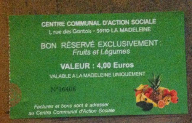 Un des bons délivrés par le Centre communal d'action sociale à Caroline.