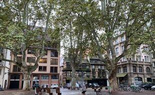 Place du Marché Neuf à Strasbourg, un des trois secteurs concernés par l'arrêté contre la mendicité agressive.. Le 25 septembre 2019.