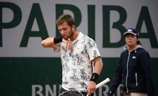 Corentin Moutet, battu au troisième tour de Roland-Garros par l'Argentin Juan Ignacio Londero, le 31 mai 2019.