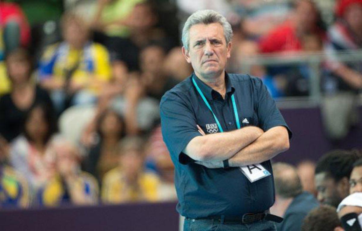 Le sélectionneur de l'équipe de France de hanball, Claude Onesta, lors d'un match contre la Suède aux Jeux olympiques de Londres, le 6 août 2012. – Sipa