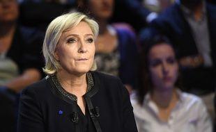 Marine Le Pen dans «Le Grand Débat» sur  BFMTV et CNews, le 4 avril 2017.