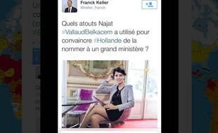 Paris, le 1er septembre 2014. Capture écran du message posté par l'UMP Franck Keller au sujet de Najat Vallaud-Belkacem.