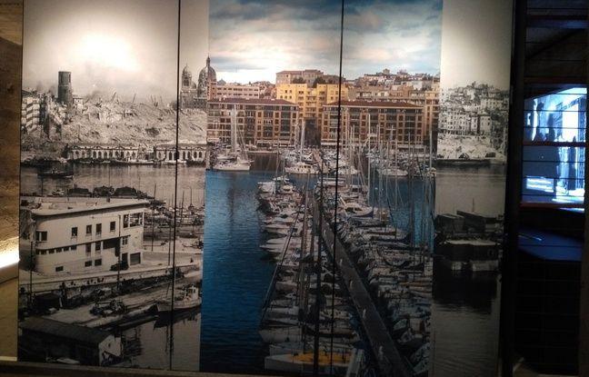 Le Vieux-Port de Marseille aujourd'hui et en 1943, au Mémorial des déportations à Marseille.