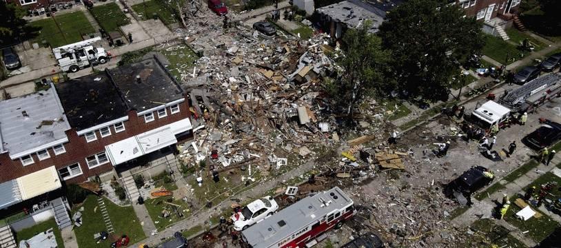 Une explosion au gaz a rasé plusieurs bâtiments à Baltimore, le 10 août 2020.