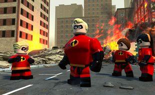 La famille Parr au grand complet dans le monde des Lego.