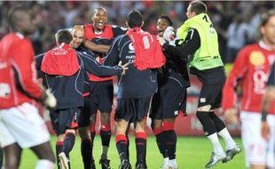 La joie des Lillois après leur victoire (3-2) contre Nancy, samedi au Stadium Nord.