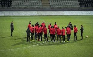 Les joueurs du Stade Rennais lors d'un entraînement à Jablonec, à quelques heures de leur match de Ligue Europa.