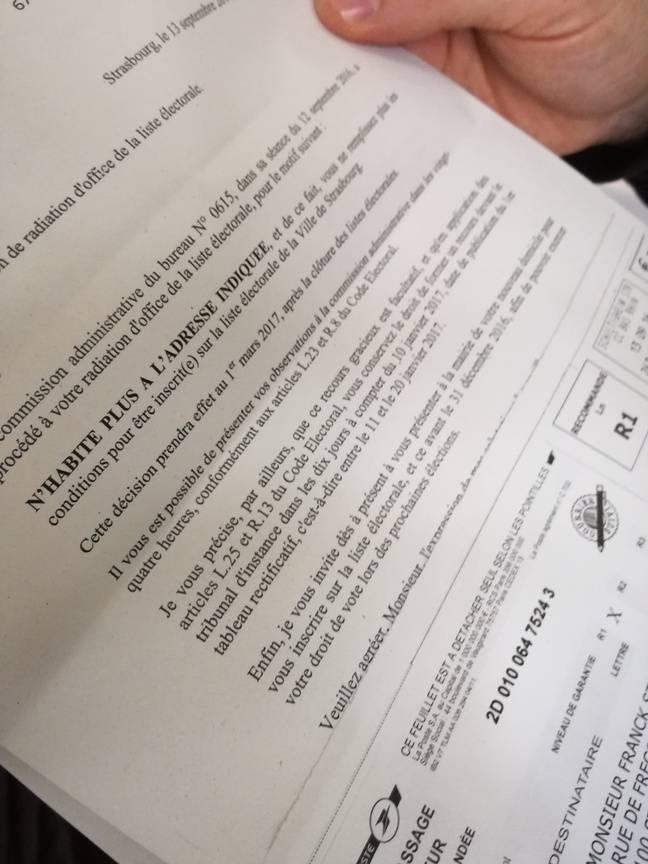 Avant de déposer son premier recours devant le juge d'instance dimanche, Franck Steinel a récupéré au bureau des élections situé à l'Eurométropole le courrier envoyé (vainement) à sa toute première adresse strasbourgeoise, quittée il y a plus de dix ans.