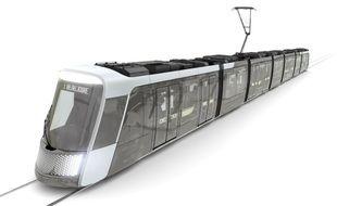 Image de synthèse du nouveau tramway nantais.