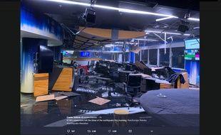 Les locaux de la chaîne KTVA, en Alaska, après le séisme de 7.0 qui a secoué Anchorage, le 30 novembre 2018.