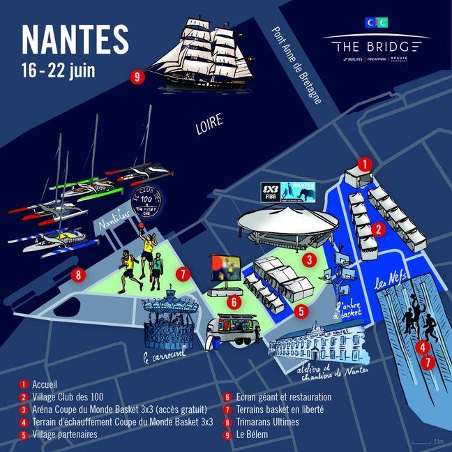 Le plan des festivités The Bridge à Nantes.