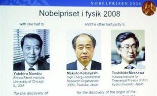 Le prix Nobel de physique 2008 a été décerné à l'Américain Yoichiro Nambu et à deux Japonais Makoto Kobayashi et Toshihide Maskawa pour leurs travaux séparés sur la physique des particules, a annoncé mardi le comité Nobel.