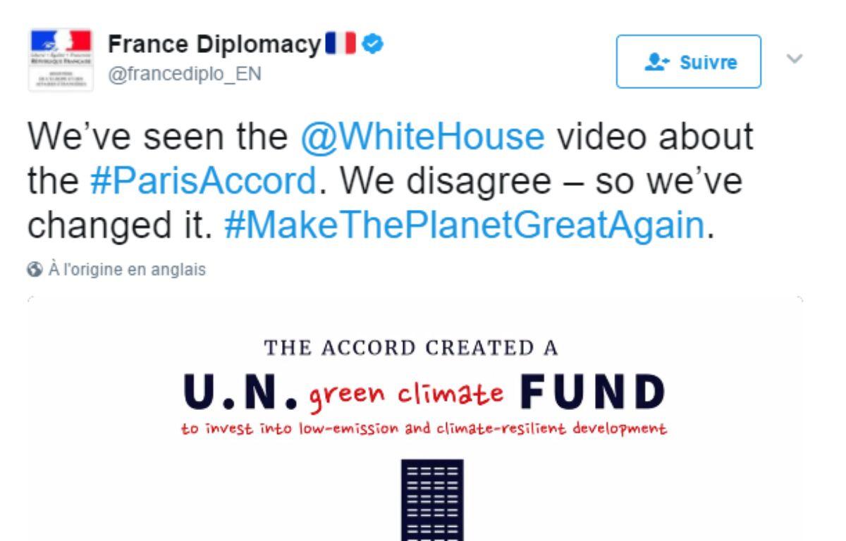 Capture d'écran de la vidéo postée sur Twitter par le compte de la diplomatie française. – @francediplo_EN
