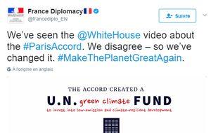 Capture d'écran de la vidéo postée sur Twitter par le compte de la diplomatie française.