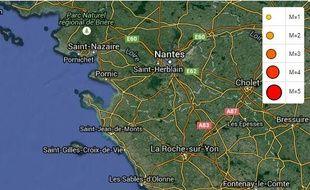 L'épicentre a été localisé dans l'océan Atlantique.
