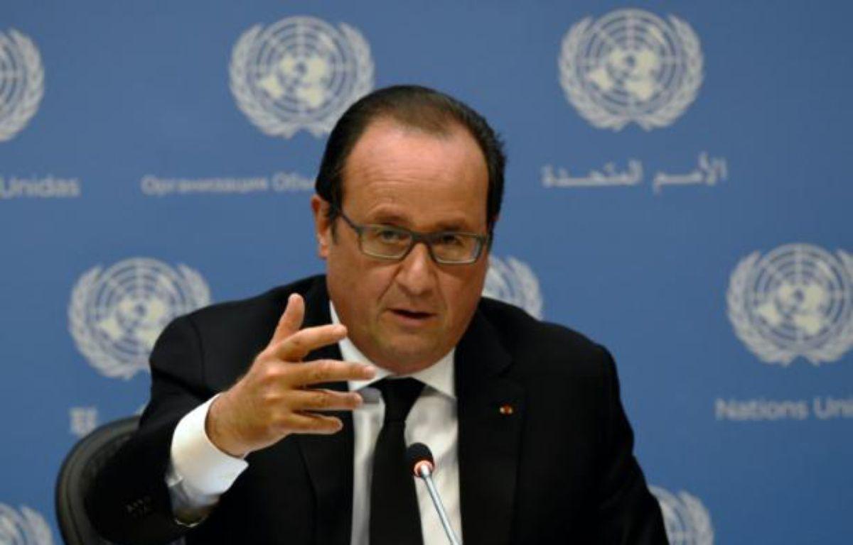 Le président François Hollande lors d'une conférence de presse à l'ONU à New York, le 27 septembre 2015. – ALAIN JOCARD AFP