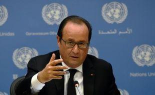 Le président François Hollande lors d'une conférence de presse à l'ONU à New York, le 27 septembre 2015.