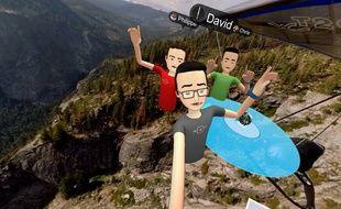 Un selfie virtuel dans l'app Spaces de Facebook pour l'Oculus Rift.