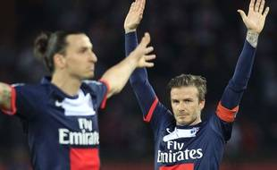 David Beckham et Zlatan Ibrahimovic lors du match entre le PSG et Brest le 18 mai 2013.